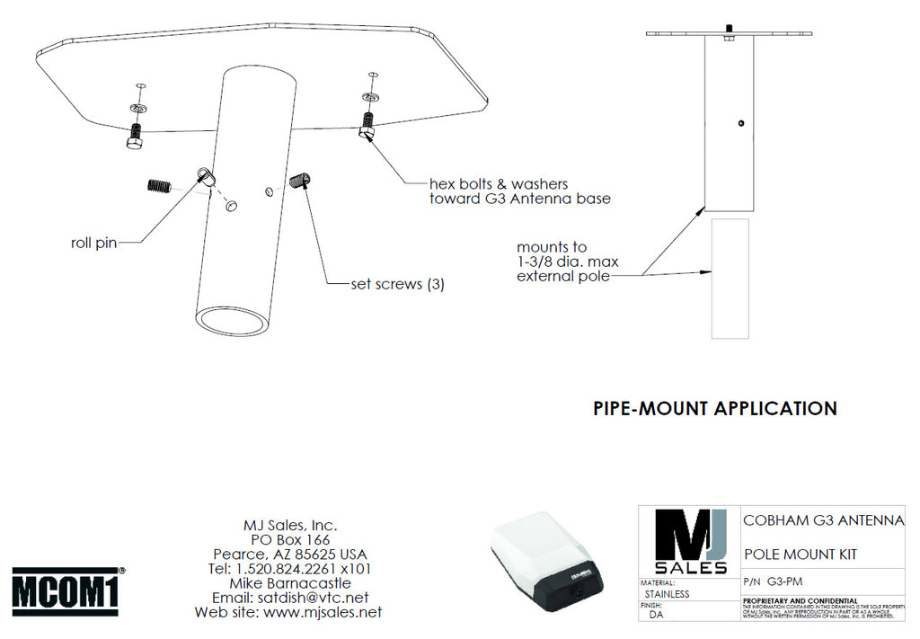 Pole mount G3-PM for Cobham MSAT-G3 antenna