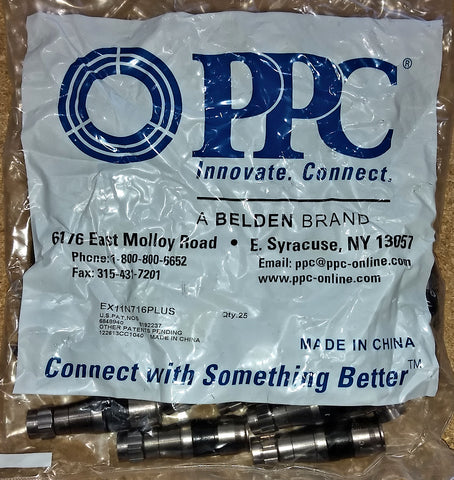 RG11 Compression Connectors PPC EX11N716PLUS Bag of 25