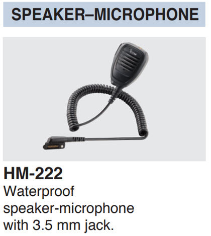 Icom HM-222 waterproof speaker-microphone with 3.5 mm jack for IC-SAT100