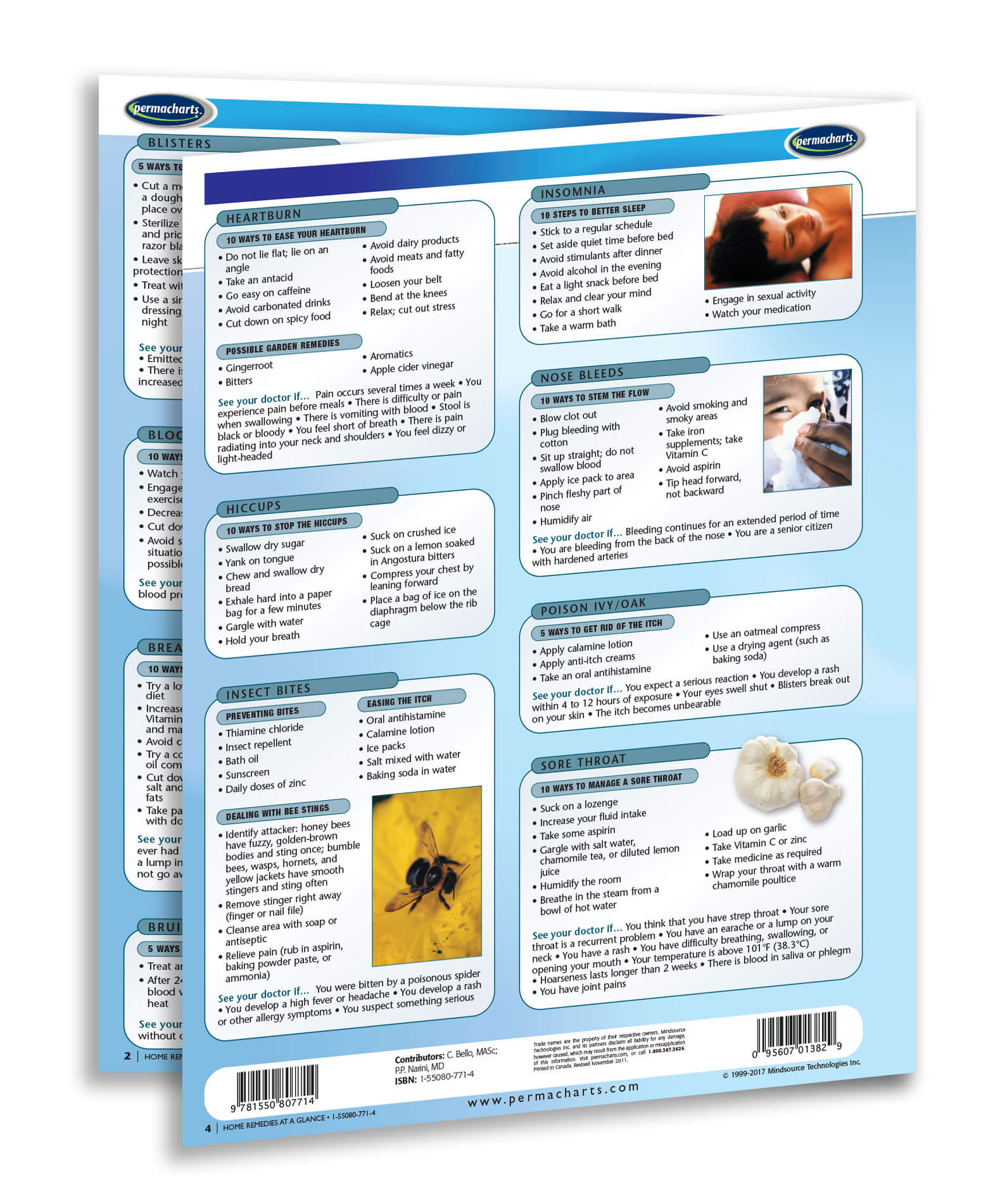 Home Remedies Guide - Quick Reference Guide - 4 page Laminated Chart