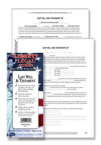 Living Will  Last Will And Testament Legal Forms Planning Kit