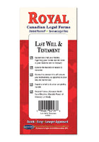 Last Will & Testament Legal Forms Kit - Canadian Do-it-Yourself Legal Forms