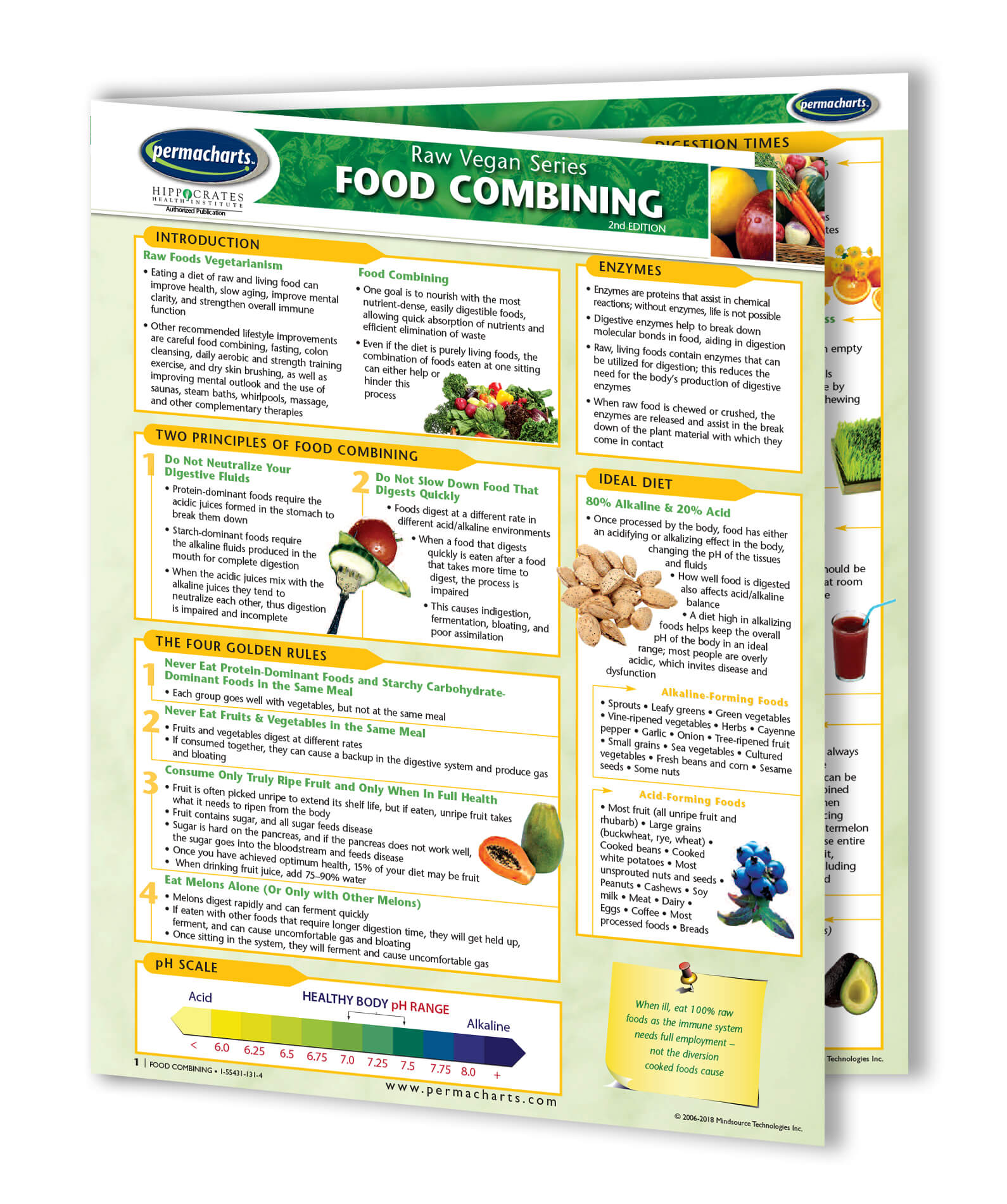graphic regarding Food Combining Chart Printable named Foodstuff Combining - Uncooked Meals Chart - Effortless Reference Consultant - 4-web page Laminated Lead