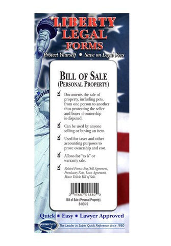 Legal Form - Bill Of Sale Forms (Personal Property) - USA