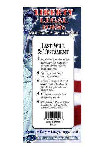 Legal Form - Last Will & Testament - USA