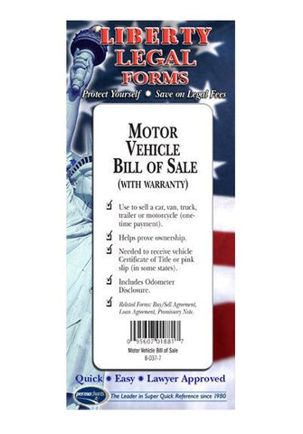 Legal Form - Motor Vehicle Bill Of Sale - USA