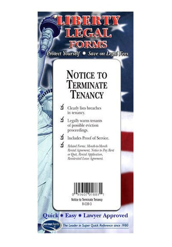 Legal Form - Notice To Terminate Tenancy - USA