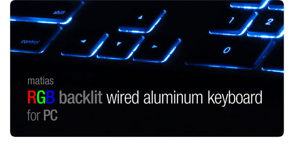 Matias RGB Backlit Wired Aluminum Keyboard for PC