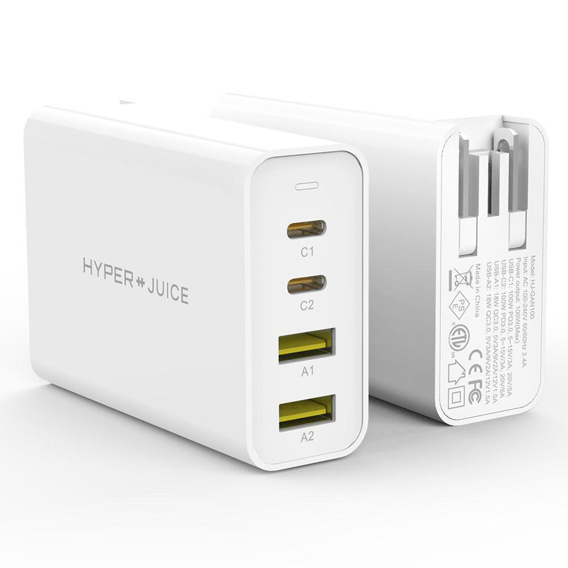 HyperJuice GaN 100W USB-C Charger front and back