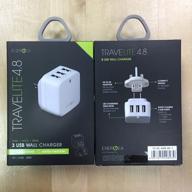 Energea Travelite 4.8 3 USB Wall Charger 5V 4.8A 24W US/UK