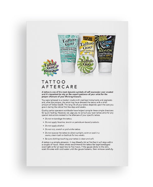 Tattoo Aftercare Sheets - 50 pack