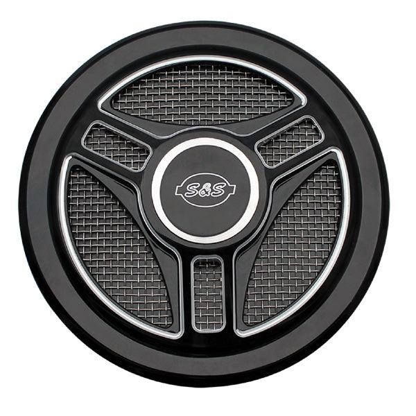 S&S Tri Spoke Air Cleaner Cover-Stealth Black
