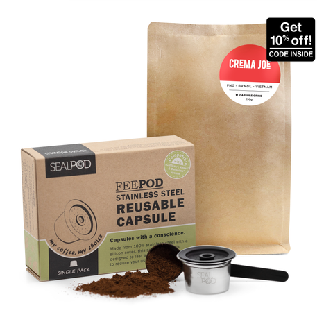 SealPod FeePod Australia: Reusable/refillable zero waste coffee pods & capsules for Aldi F-fee Expressi machines | promo code inside