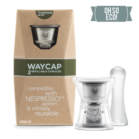 WayCap Ez Two Pack Reusable Coffee Pods for Nespresso® | Stainless Steel Coffee Capsules with tamper