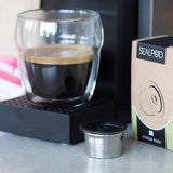 Espresso coffee and SealPod/FeePod reusable & refillable coffee capsule