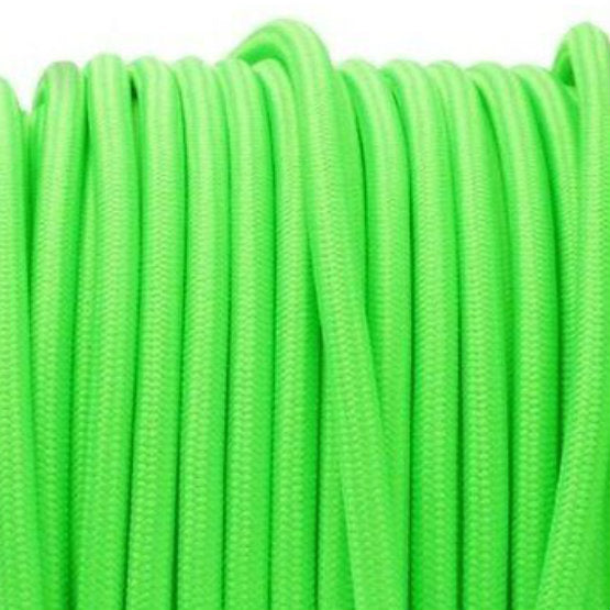 Neon green fabric covered electrical cord