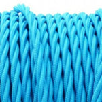 Bright blue fabric covered TWIST style electrical cord