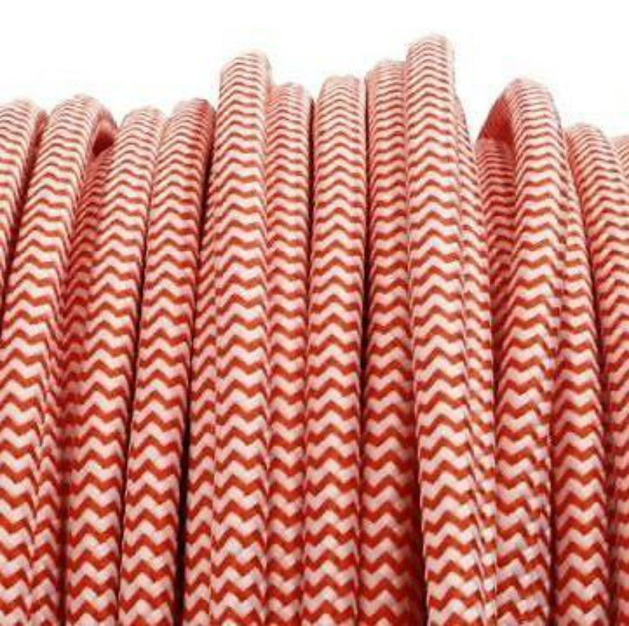 red and white zigzag fabric 3 core cord