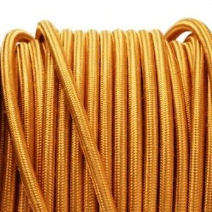 Gold 3 core fabric electrical cord