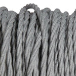 Pale grey fabric covered electrical cord