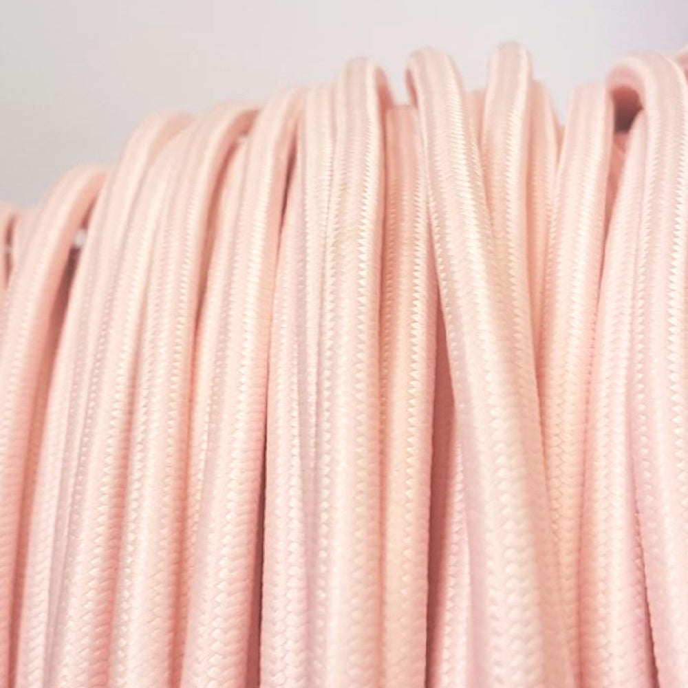 Pale Pink fabric 3 core cord