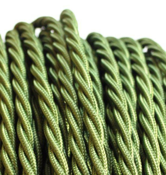 Olive green twist fabric covered electrical cord