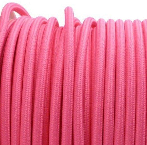 Pink 3 core fabric electrical cord