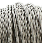 Silver Twist fabric covered electrical cord