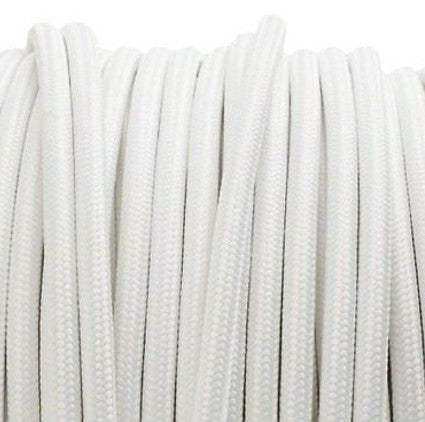 White 3 core fabric electrical cord