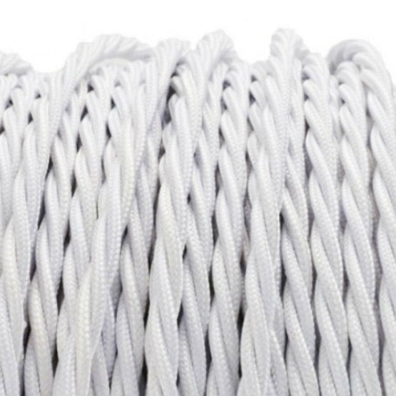 White Twist fabric covered electrical cord