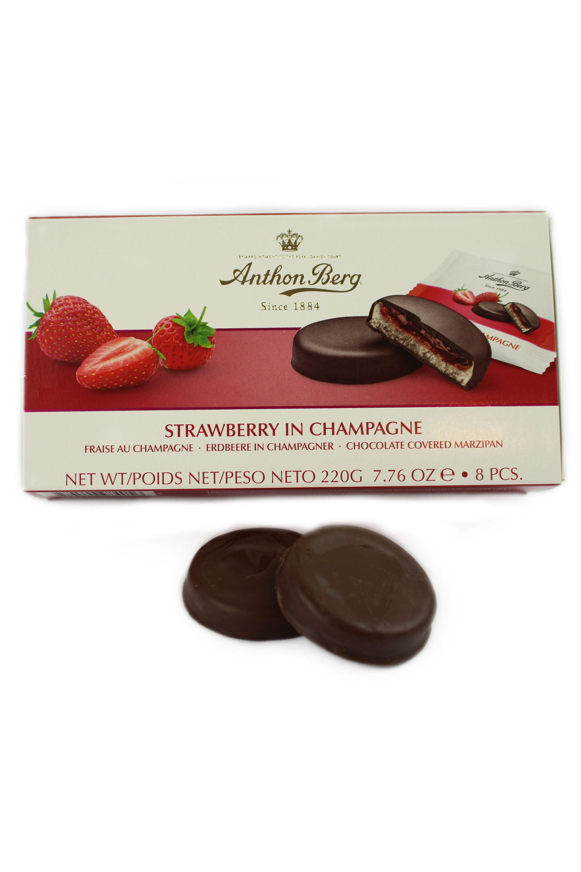 Strawberries in Champagne Marzipan Liqueurs