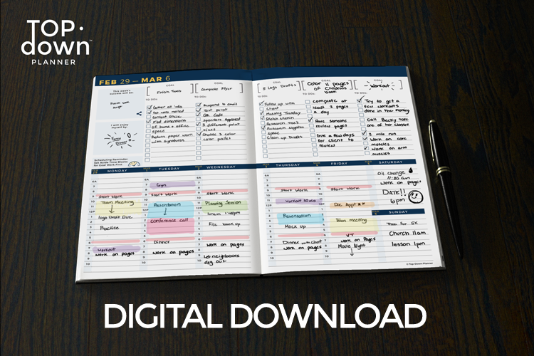 graphic about Full Focus Planner Pdf named Top·Down Planner Weekly Planner PDF Obtain
