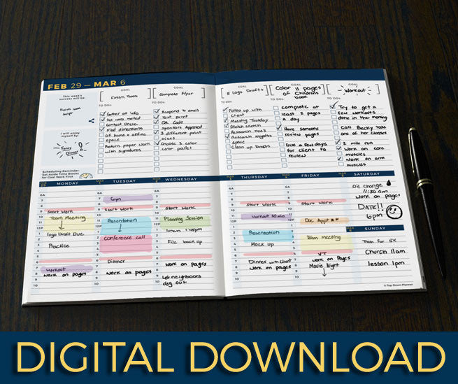 14 month topdown planner digital download goal planner productivity tool with