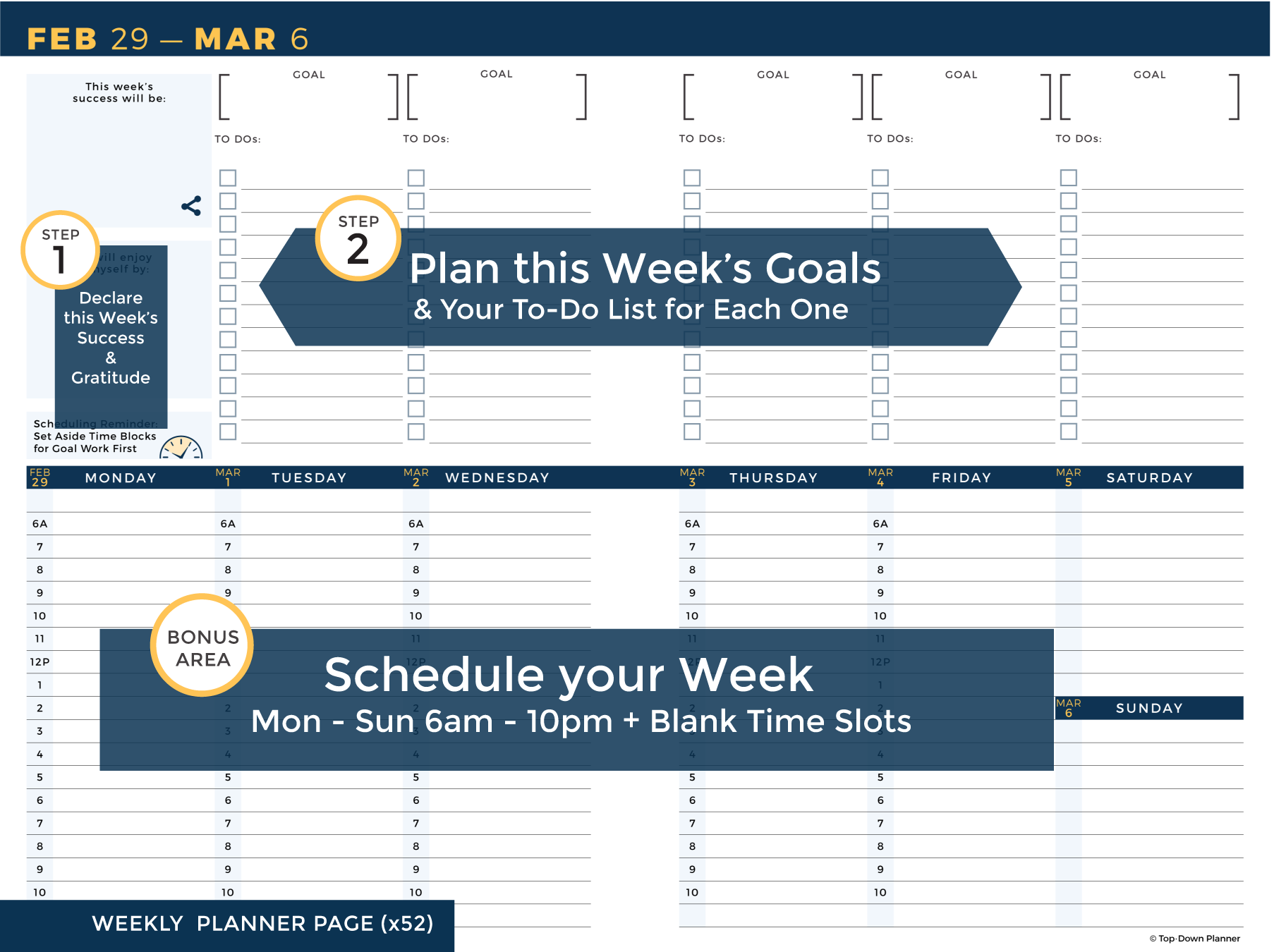 image relating to Week Planner Pdf referred to as Top·Down Planner Weekly Planner PDF Obtain
