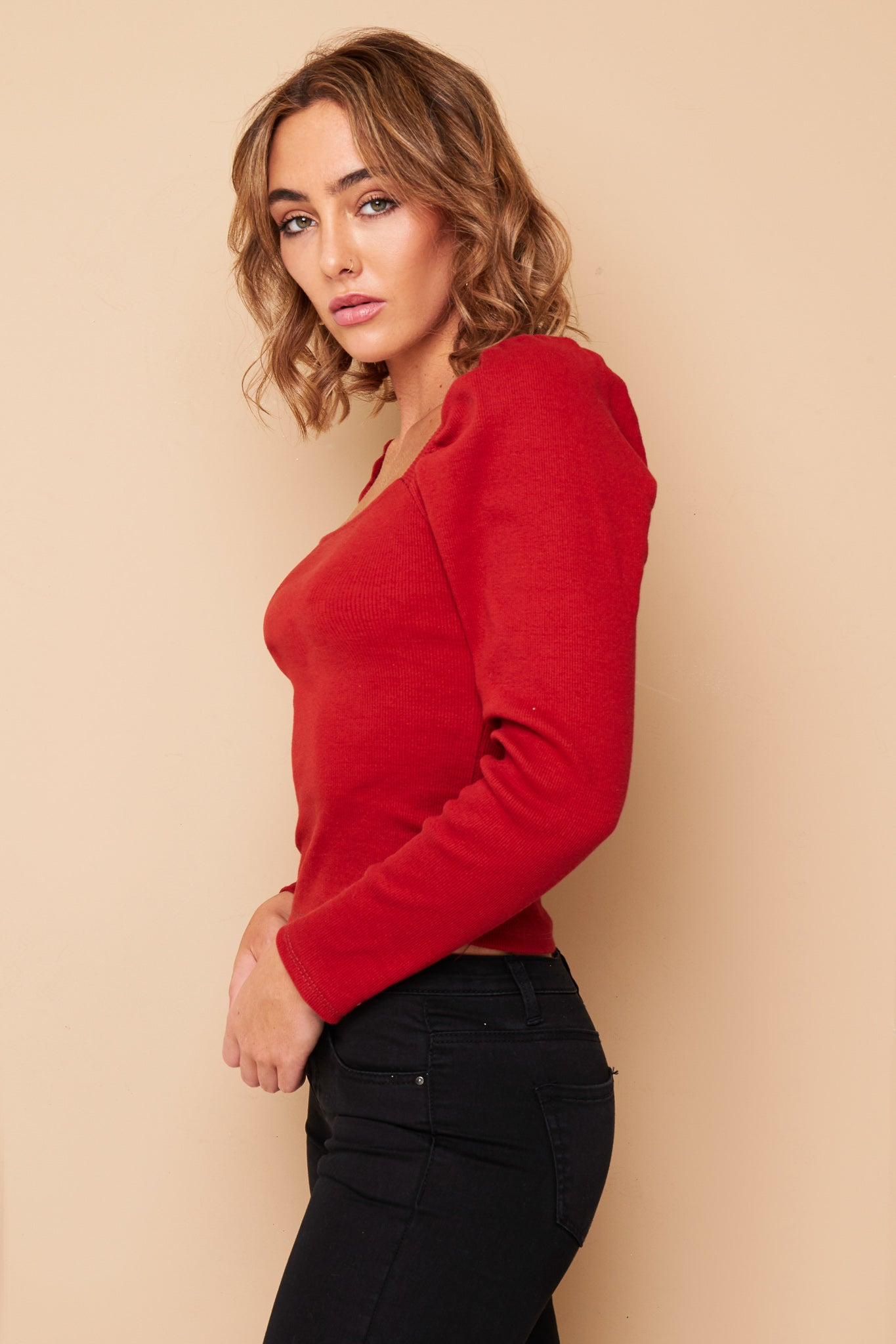 RUSTY RED  RIBBED LONG SLEEVE  CROP TOP