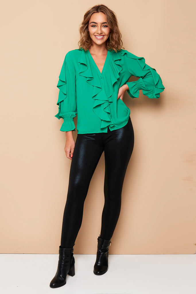 APPLE GREEN RUFFLE SHIRT