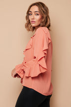 TEA ROSE RUFFLE SHIRT