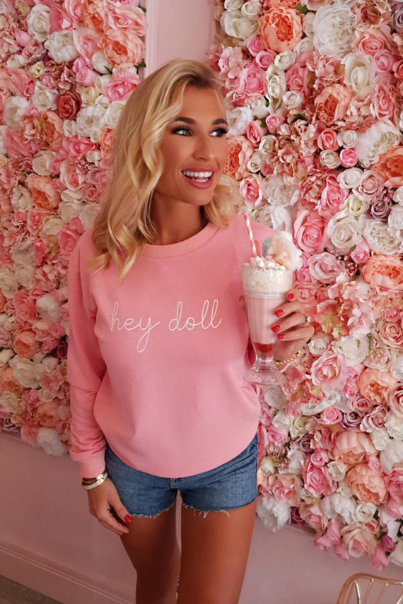 PINK HEY DOLL SWEATSHIRT