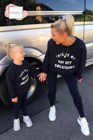 CHILDS NAVY THIS IS MY DAY OFF SWEATSHIRT (PRE-ORDER)