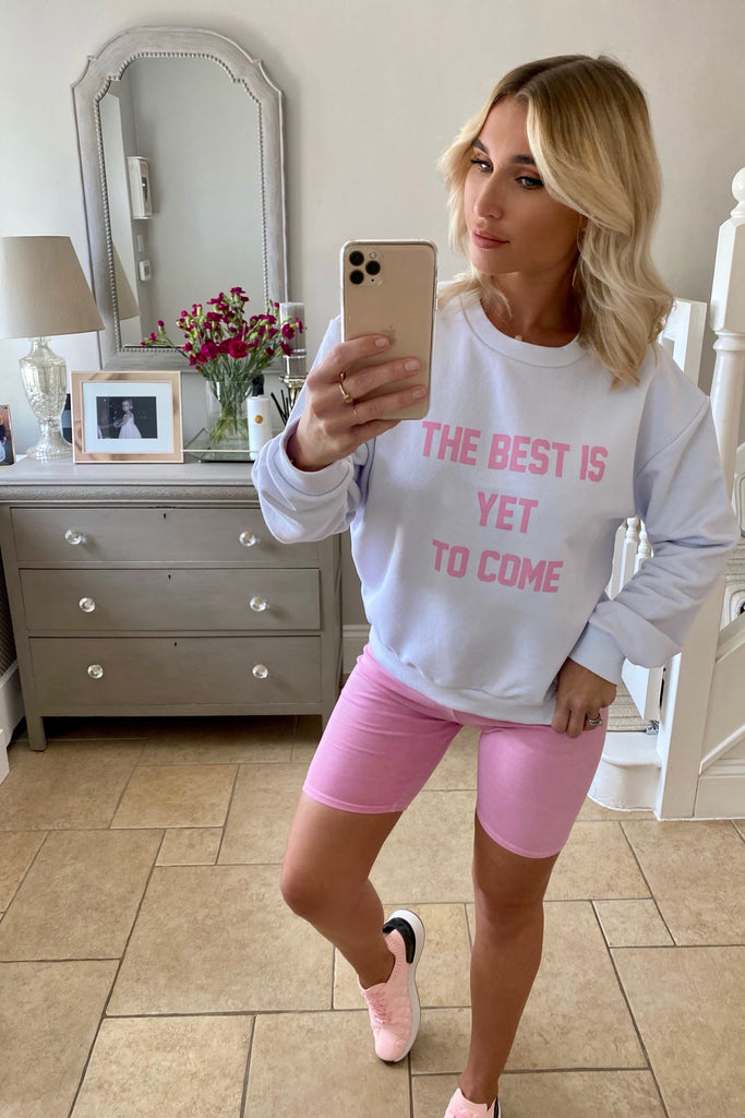 LILAC WHITE THE BEST IS YET TO COME SWEATSHIRT