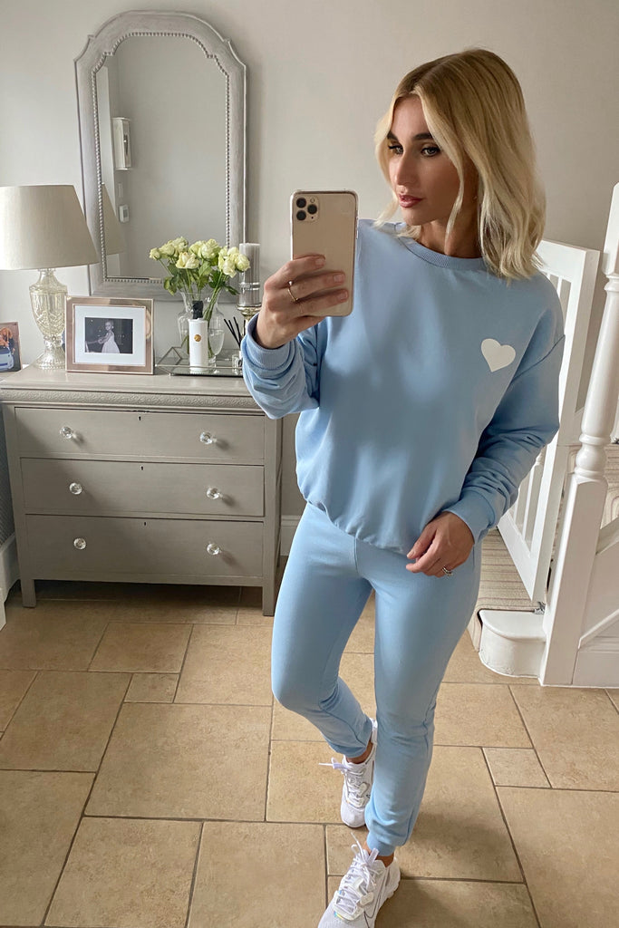 MYNELLY SKY BLUE HEART TRACKSUIT