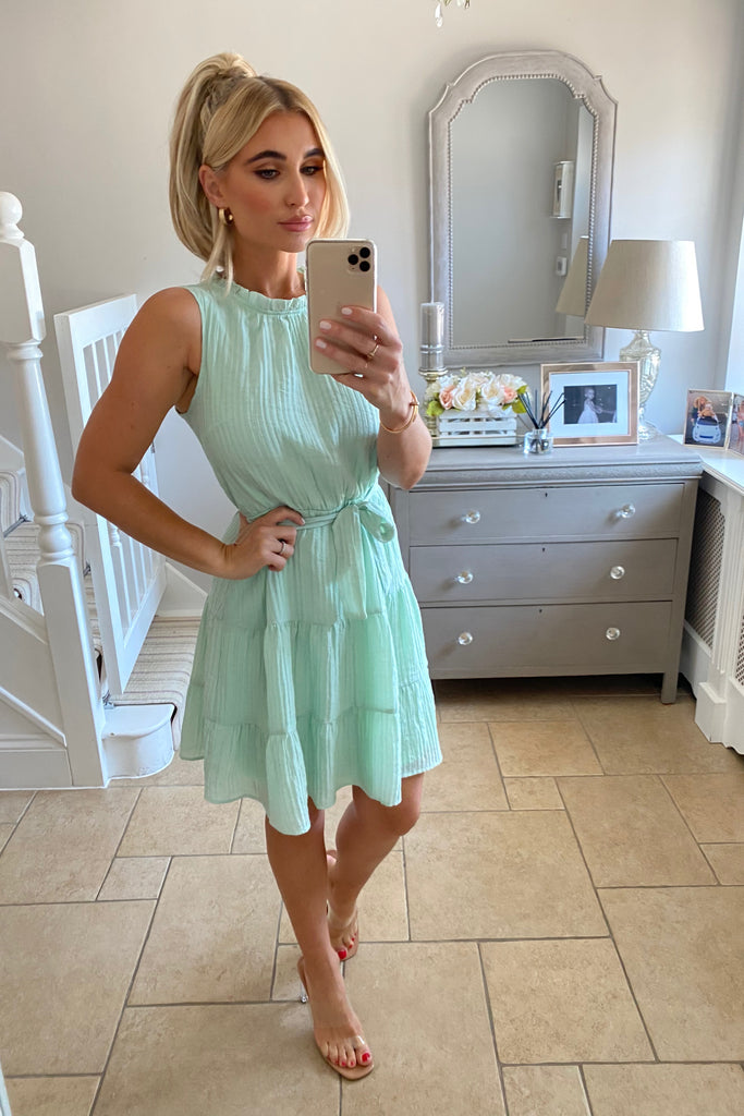 MINT FRILL TEA DRESS