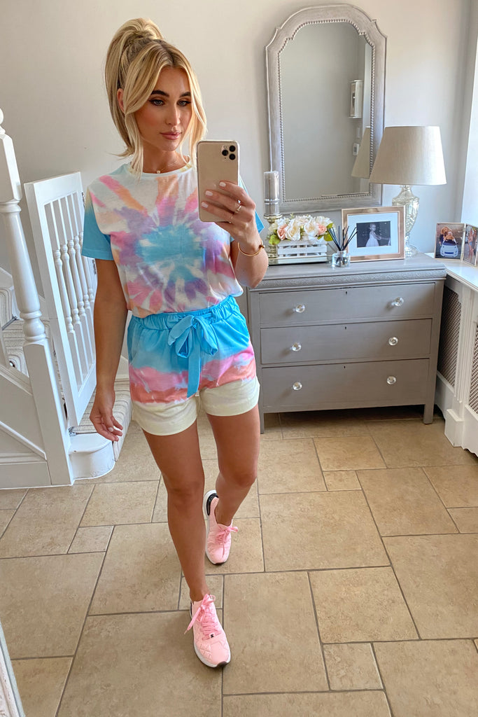 MULTI PASTEL TIE DYE SHORTS CO-ORD