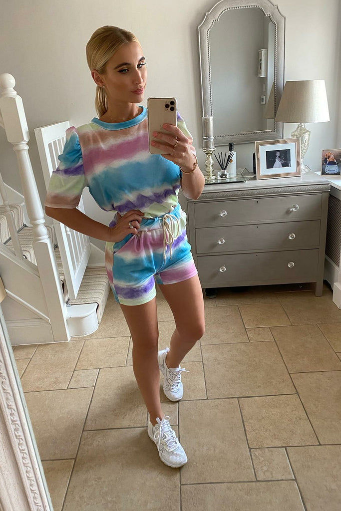 MULTI COLOURED TIE DYE SHORTS CO-ORD