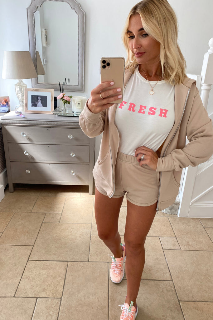MYNELLY NUDE ZIPPER HOODIE CO-ORD