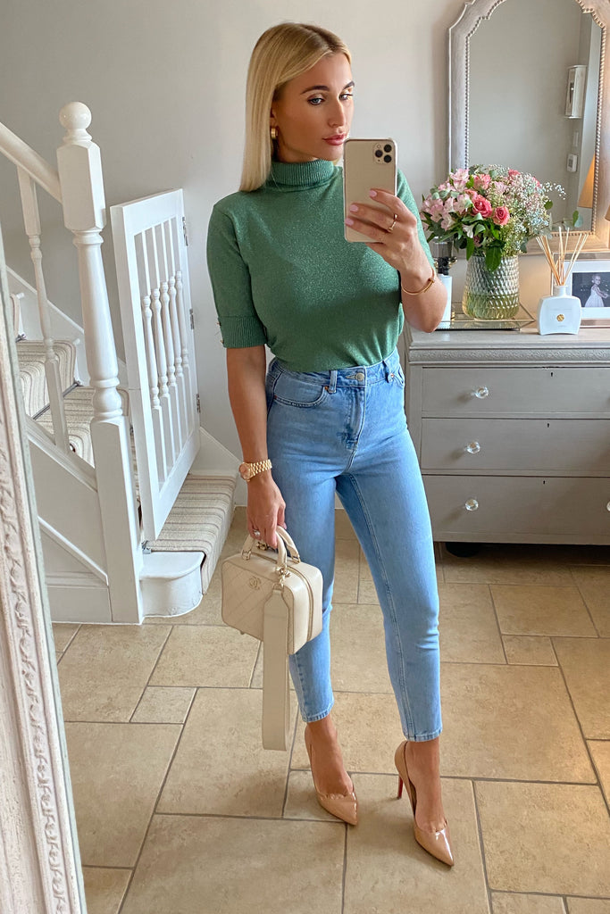 LUREX GREEN SHORT SLEEVE ROLL NECK