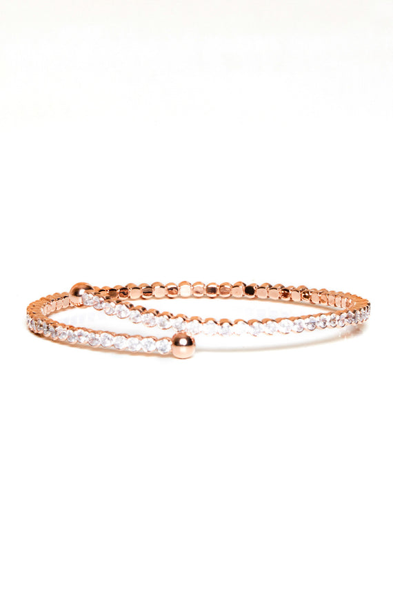 SLIM ROSE GOLD DIAMANTE BANGLE