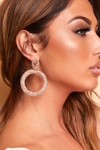 GOLD DIAMANTE HOOP DROP EARINGS