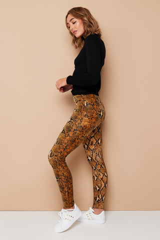 SOFT STRETCH SNAKE PRINT LEGGINGS