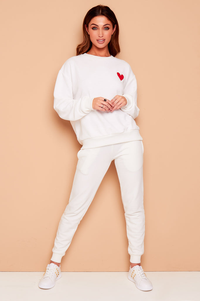 WINTER WHITE MYNELLY LOVE HEART TRACKSUIT